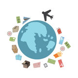 Rapid air transport. Air transport aircraft around the world vector illustration