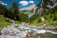 Rapid brook near Klausen Pass, Switz Stock Images
