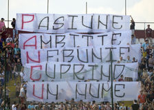 Rapid Bucharest fans with message for Daniel Pancu Stock Photo