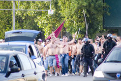 Rapid Bucharest fans and police Stock Image