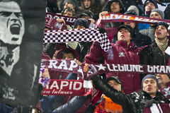 Rapid Bucharest Football Fans. Rapid Bucharest's fans cheering for the team in the football match between Rapid Bucharest and Unirea Urziceni in Romanian League Royalty Free Stock Photo