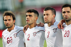 Rapid Bucharest - MyPa. Rapid Bucharest's players, at the beginning of the football match between Rapid Bucharest and MyPa in UEFA Europa League Qualifiers, 19th Stock Images