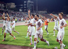 Rapid Bucharest players celebrate victory Stock Photography