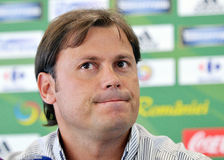 Rapid Bucharest's team manager Daniel Perja during a press conference Stock Images