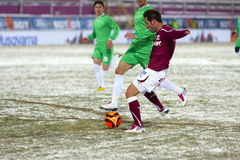 Rapid Bucharest - Unirea Urziceni. Rapid Bucharest's player kicking the ball in the football match between Rapid Bucharest and Unirea Urziceni in Romanian League Stock Images