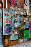 Graffiti art in alley of Rapid City, SD. RAPID CITY, SOUTH DAKOTA, May 23, 2018: The paint graffiti art is found in Art Alley Rapid City, began as a public art stock image