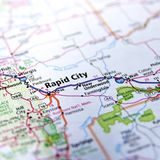 Rapid City. A view of a map with the focus on the Rapid City, South Dakota Royalty Free Stock Image