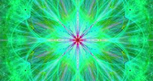 Rapid color changing abstract fractal video with an intricate large exploding space flower.