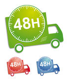 Rapid delivery. Sticker or button for delivery service; with 3 colors for illustration Stock Photos