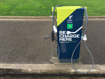 Rapid electric vehicle charging stations. On Nov 2016 Vectors networks had 9,095 rapid charging stations around New Zealand with an average 20 minutes charge Stock Photo