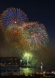 Rapid Firing of Fireworks on Lake Union Washington Stock Photos