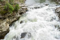 The rapid flow of the Prut River. With an exposure of 1/8 sec. View of the water from the pedestrian bridge in the town of Yaremche, Ukrainian Carpathians royalty free stock photos