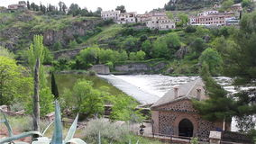 Rapid flow of the Tagus River in Toledo stock footage