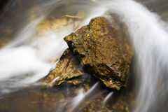 Rapid Flowing River Water. Around Rock Obstacle Stock Image