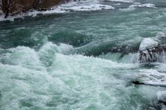 Rapid icy water at Niagara River stock photo