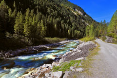 Rapid mountain stream near the road Royalty Free Stock Images