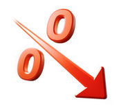 Rapid Percent decrease. Red percent sign with downward arrow Royalty Free Stock Image