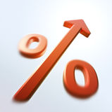Rapid Percent increase. Red percent sign with upward arrow - partially blurred Stock Images