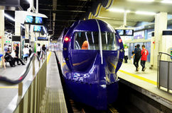 Rapid Railway stop at Namba station waiting passenger for go to Royalty Free Stock Photo