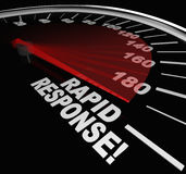Rapid Response Speedometer Emergency Crisis Service. The words Rapid Response on a speedometer with needle racing to illustrate fast service and arrival of help Stock Photos