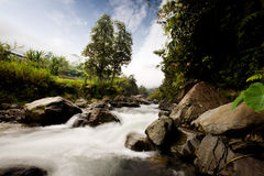 Rapid River. A rapid flowing river with motion blur on the water royalty free stock photography