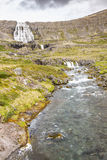 Rapid river in background Dynjandi waterfall - Ice Stock Photos