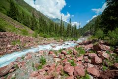 Rapid river Kegety, Tien Shan, Kyrgyzstan Stock Photos
