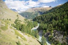 Rapid river in the swiss valley. Zermatt Stock Images