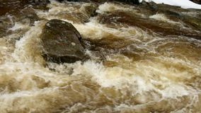 Rapid stream. Mountain river full of cold spring water. Slipper big stones and foamy chilly water around. Noise of huge of water. Rapid stream. Mountain river stock video