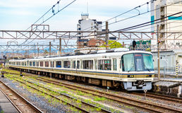 Rapid train at Oji Station in Nara Stock Images