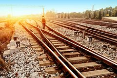 Rapid train runs on tracks Stock Photography
