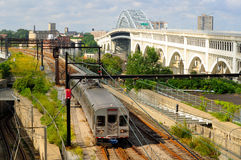 Rapid transit train. In Cleveland Ohio with Detroit-Superior Bridge in background Stock Photo