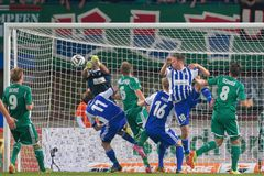 Rapid vs. Helsinki. VIENNA, AUSTRIA - AUGUST 28, 2014: Mario Sonnleitner (#6 Rapid) tries to score a goal in an UEFA Europa League qualifying game Stock Photography