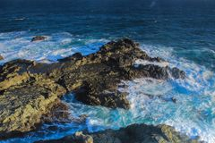 Rapid waves on the south coast of Indonesia Royalty Free Stock Photography