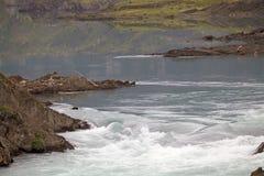 Rapide del fiume di Paine nel parco nazionale di Torres del Paine, regione del Magallanes, Cile del sud Fotografie Stock Libere da Diritti