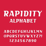 Rapidity alphabet vector font. Oblique letters and numbers Royalty Free Stock Photos