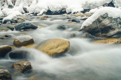 Rapidly flowing mountain river, blurred by a slow shutter speed Stock Photos