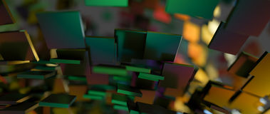 Rapidly rotating shiny green metal rectangles. Abstract illustra Stock Photos