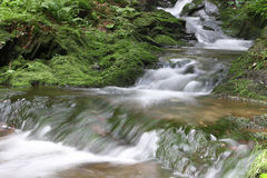 Rapids at the forest creek - long exposure Stock Photos