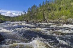 Rapids on Kutsayoki river, Murmansk region, Russia. Royalty Free Stock Photos