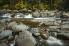 Rapids and ledges of Lower Falls, Swift River, New Hampshire. Royalty Free Stock Photo