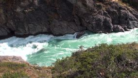 Rapids of mountain river show power water In Patagonia Argentina. Unique landscape of wildlife. Beautiful nature background. Travel and tourism in picturesque stock footage