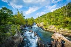 Rapids in the Potomac River at Great Falls, seen from Olmsted Is Royalty Free Stock Photos