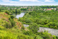 The rapids on a small river near the Ukrainian village Stock Images
