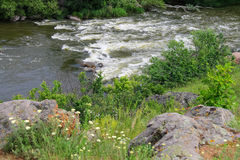 The rapids on a small river in Ukraine Stock Photo