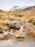 Rapids in small waterfall on stream, Higland in Scotland an early spring day. Snowy mountain peaks Stock Photography