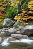 Rapids und Fallfarbe auf dem schnellen Fluss Stockbild