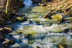 Rapids on a Wild Trout Stream. Rapids on a Wild Mountain Trout Stream located in Mountains of the George Washington and Jefferson National Forest, Botetourt stock image