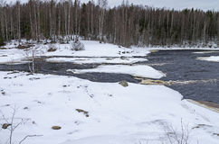 Rapids in winter.  Karelia, Russia. Stock Photo