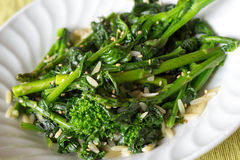 Rapini and asparagus salad. Cooked rapinis and asparagus salad stock image